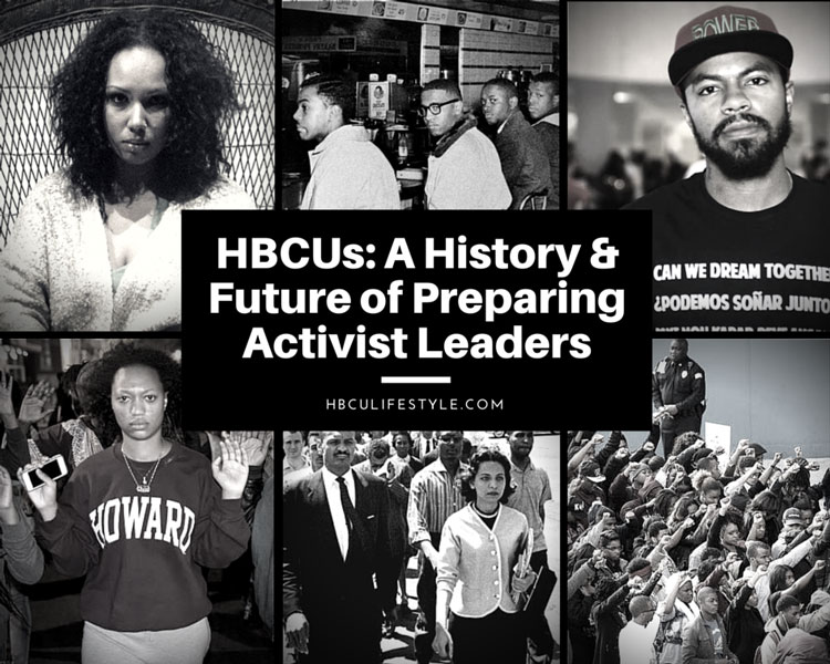 Black and white images of HBCU activists both past and present.