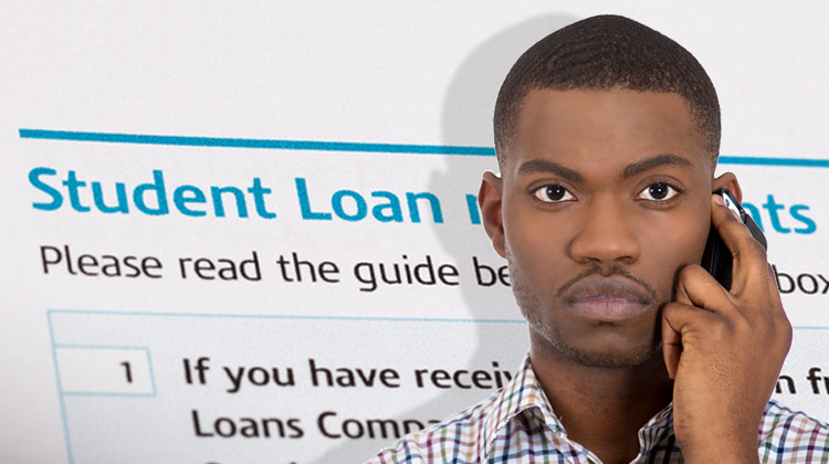 Black male college student contacts his private student loan officer with student loan repayments on a tax form in the background.