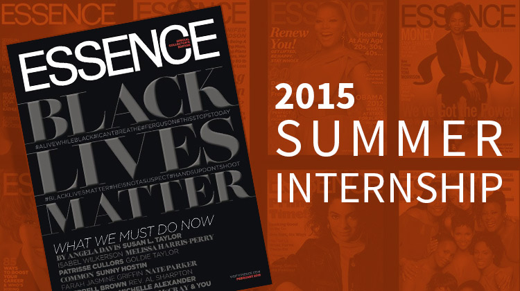An image of a black and silver special edition cover of Essence Magazine. This February 2015 edition devotes the entire issue to 'Black Lives Matter'.
