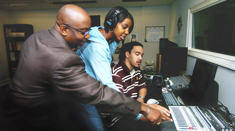 Media production students gain experience in recording studio.