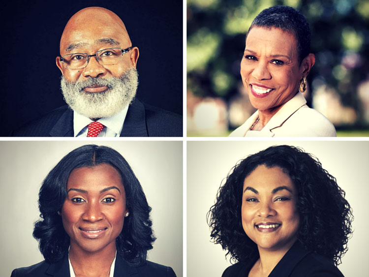 Recently appointed HBCU Presidents: top left, Willie Larkin (Grambling State University), Top right, Mary Schmidt Campbell (Spelman College), Bottom left, Tashni Dubroy (Shaw University), and bottom right Maria Thompson (Coppin State University).
