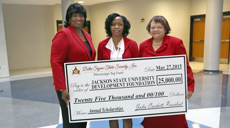 Julia Crockett, left, president of the Jackson Alumnae Chapter of Delta Sigma Theta Sorority Inc., and Sylvia T. Watley, chapter journalist, recently presented a $25,000 check from the sorority's car tag fund to Dr. Mary M. White, then-interim vice-president for Institutional Advancement at Jackson State University.