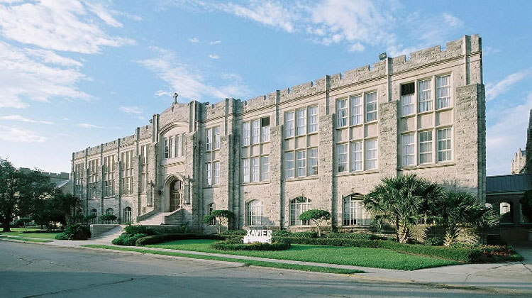 The Xavier University of Louisiana historic U-shaped, gothic administration building completed in 1933.