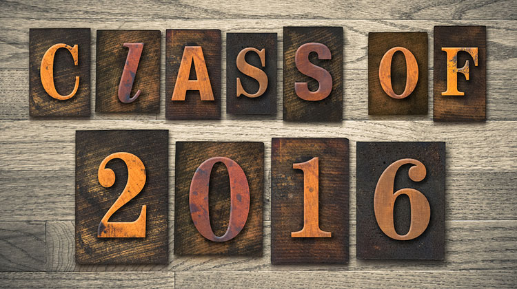 "The words ""CLASS OF 2016"" written in vintage wooden letterpress type."