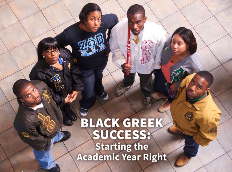 An overhead view of Black Greek Letter Organization members Iota Phi Theta Fraternity, Sigma Gamma Rho Sorority, Zeta Phi Beta Sorority, Kappa Alpha Psi Fraternity, Alpha Kappa Alpha Sorority and Alpha Phi Alpha Fraternity on the campus of Hampton University before a homecoming step show.