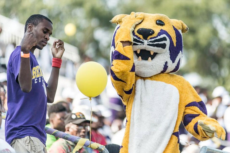 A Benedict fan dances with the Tiger Saturday evening at Charlie W. Johnson Stadium during the game against Livingstone College.