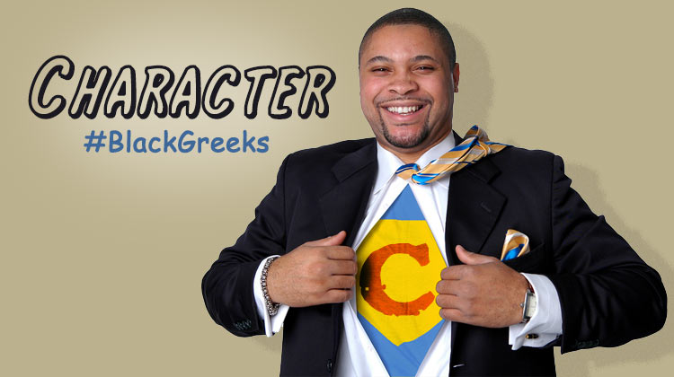 """Black Greek Superhero with a """"C"""" on his chest for Character."""