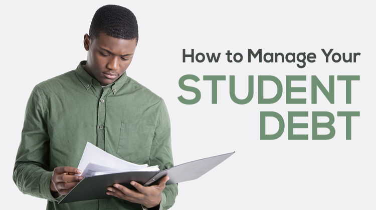 Young African American male college student reading documents for student loans.