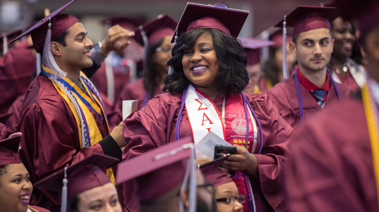 Improving graduation rates for Black and Latino students: NCCU graduating Class of 2015 pictured.