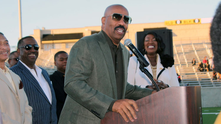 Comedian Steve Harvey visited campus to announced a special partnership with Alabama State University with plans to reignite the Turkey Day Classic.