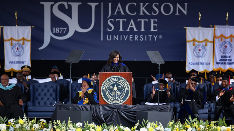 First lady Michelle Obama addresses Jackson State graduates