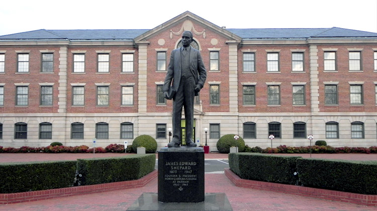Criminal Justice Online Program: Statue of NCCU founder James E. Shepard. James E. Shepard was also a pharmacist, civil servant and educator.