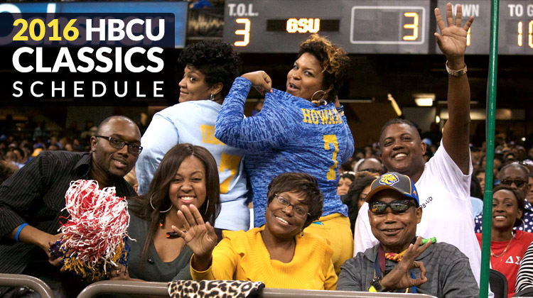 Southern University fans at the 2015 Bayou Classic Game show their school spirit for the camera in the stands. This annual event is one of the most attended HBCU Classics.