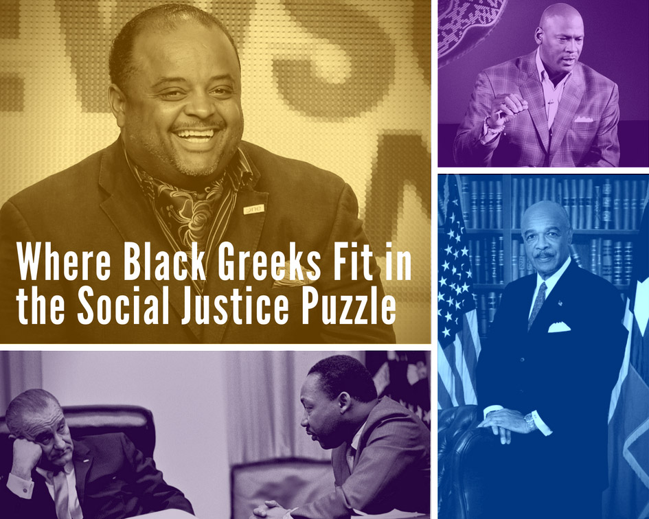 Black Greeks and Social Justice: Pictured - Journalist Roland Martin (top-left), Civil Rights Leader Martin Luther King, Jr. with former U.S. President Lyndon B. Johnson (bottom-left), Basketball Champion Michael Jordan (top right), and Former U.S. Secretary of Education Dr. Rod Paig (bottom right).