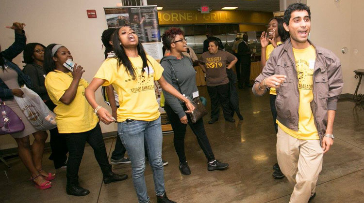 Harris-Stowe State University Ambassadors create excitement for incoming freshman class.