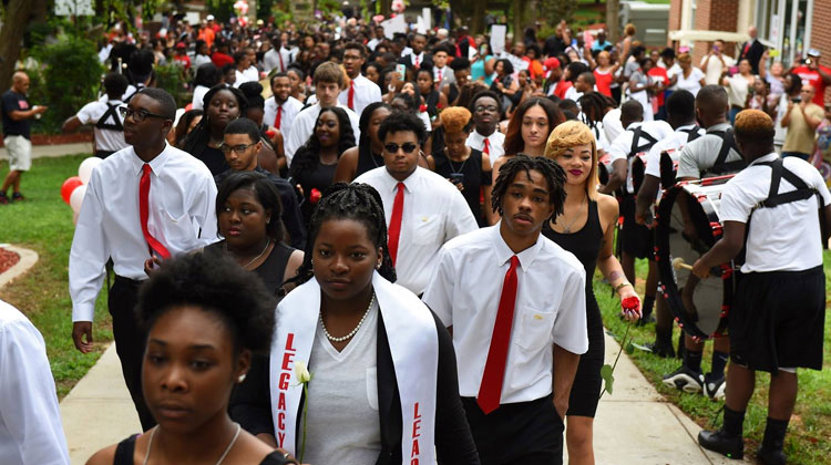 WSSU students at theThrough the Archway: A Rite of Passage Ceremony