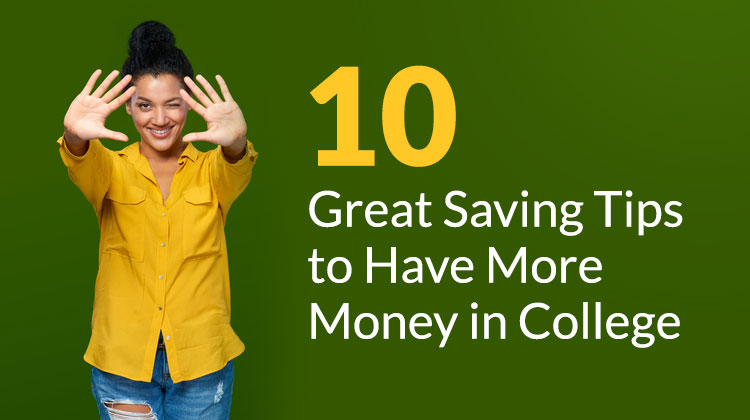 An African American woman is showing ten fingers for the number of tips for saving money in college.