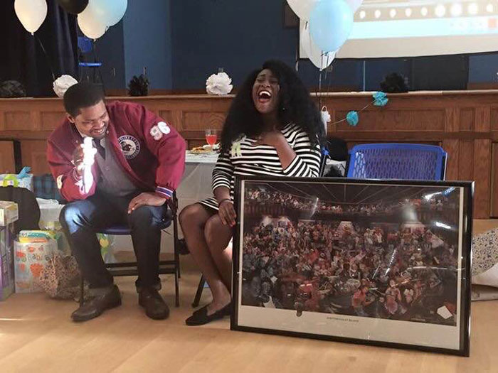 Deon and Felicity Rhode receive HBCU themed gifts at their baby shower in October 2016.