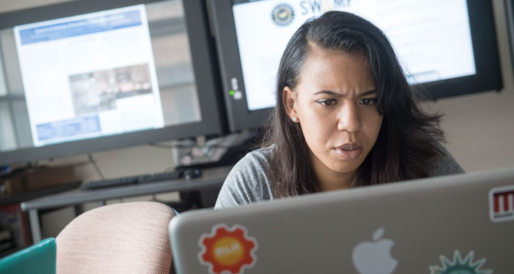 A Bowie State University student doing research for cyber security and computer forensics.