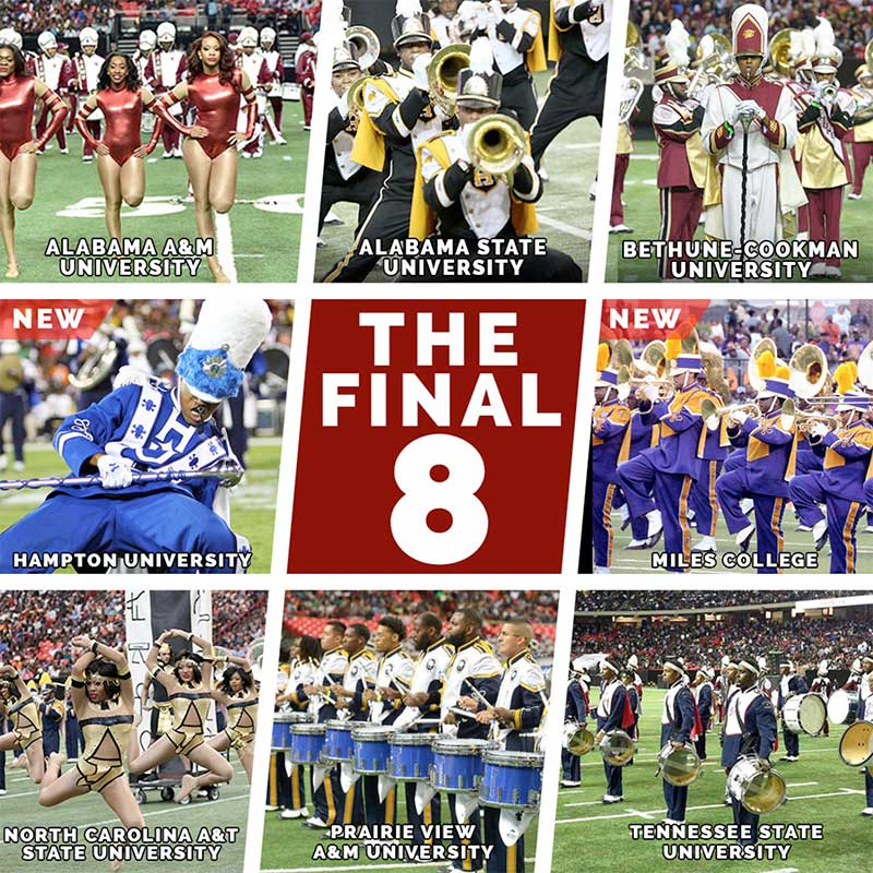 The Final 8 bands will perform at the 16th annual Honda Battle of the Bands on January 27, 2018 in Atlanta.