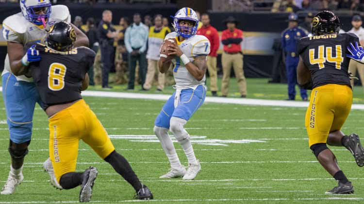 Grambling State beats Southern in Bayou Classic in Mercedes-Benz Superdome in New Orleans, LA.