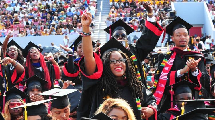 Clark Atlanta University Graduation students enjoying the commencement speech.