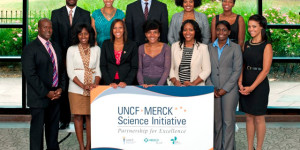 Fellowship Programs: The 2012 UNCF Merck Science Initiative Graduate fellows stand together for a group photo.