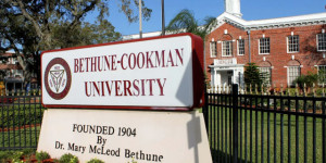 Bethune-Cookman University Signage in front of the historic White Hall, located at the heart of the Daytona Beach campus.