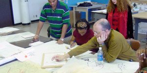 Prairie View A&M students discuss their work in an Architecture Design Studio class.