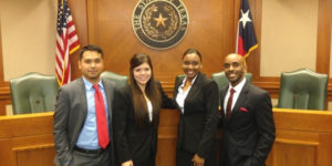 Members of the Thurgood Marshall School of Law mock trial team.
