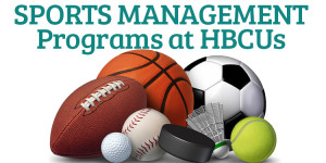Collection of sports equipment with the words HBCU Sports Management Programs in the background.