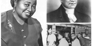 Black history icons Hattie McDaniel (left), Crispus Attucks (top right), and The A&T Four (bottom right).