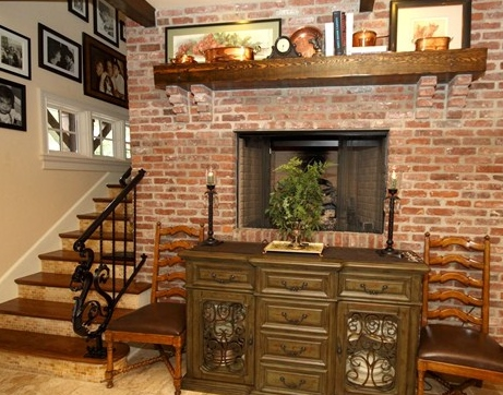 Kitchen Fireplace & Wrought Iron Design: French Country Style Home, Orlando, Florida