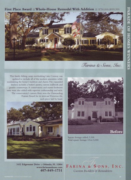 Orlando, Lake Conway, Colonial Remodel with additions. Before and After. Susan Berry, Home Designer