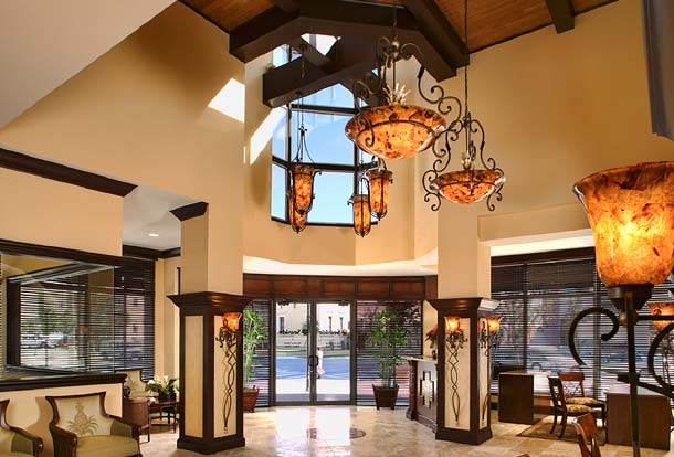 Portfolio-Commercial-Seaside National Bank, Sarasota, Florida, Lobby at entry tower. Remodel of an existing space. Susan Berry Designer