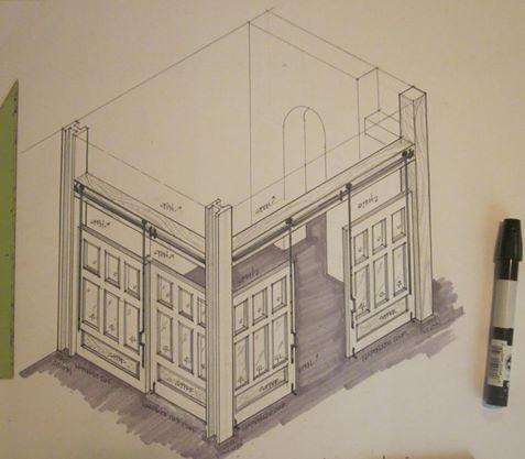 Portfolio: Seaside National Bank, Orlando, Florida: interior architectural detail sketches by Susan Berry. Loft office space concept.