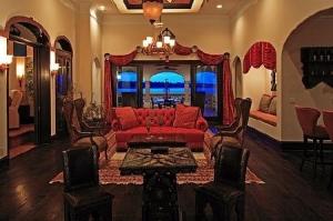 Game Room View to Lake: Cinque Terra, Modern Florida Mediterranean Street of Dreams home, Interior Architectural Designer, Susan P, Berry