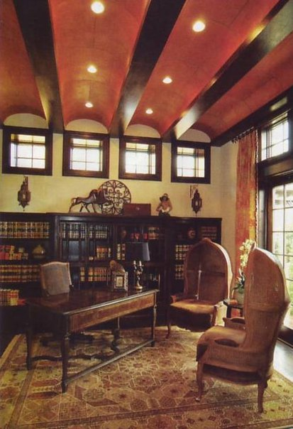 Interior Architecture, ceilings, cabinetry, stone fireplace in Street of Dreams Library, Bella Collina, Montverde, Florida; Mediterranean style, by Susan P. Berry, designer