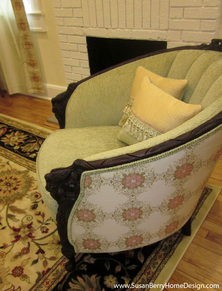 AFTER: Victorian chair, Craftsman Cottage decorating by Susan Berry