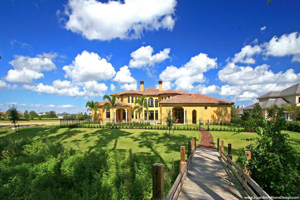 Mediterranean Mansion, Rear Elevation, Susan Berry Home Building Designer