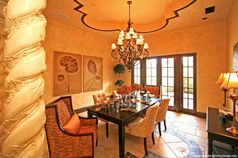 Mediterranean Mansion, Dining Room, Susan Berry Home Building Designer