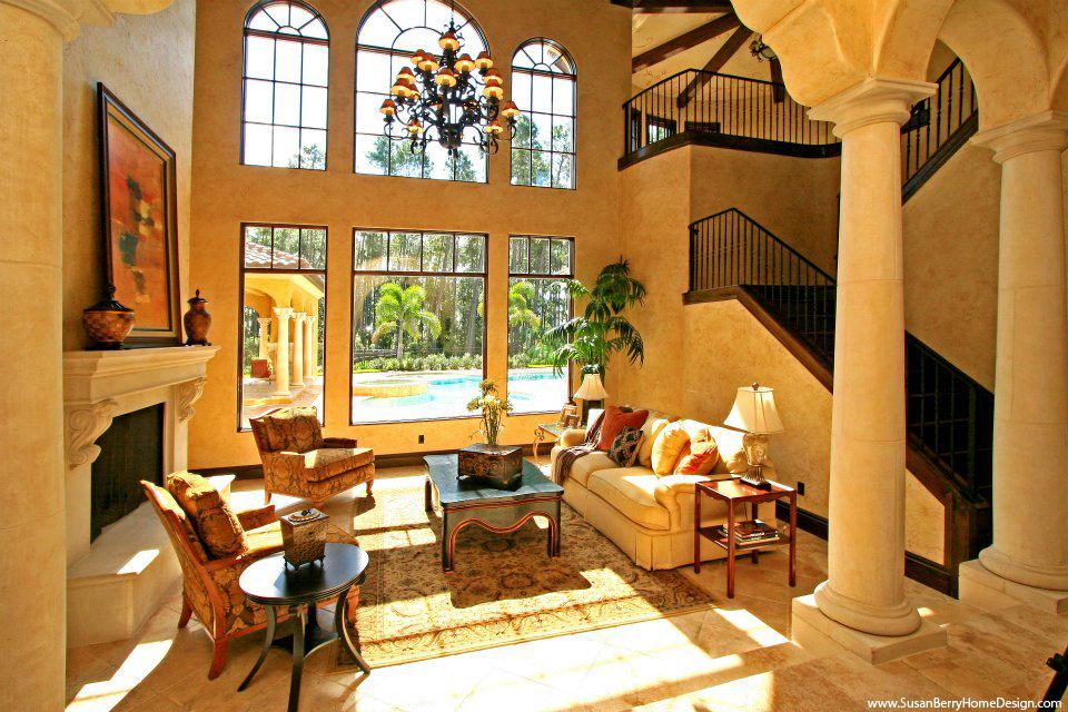 Portfolio Mediterranean Mansion Living Room Furnished