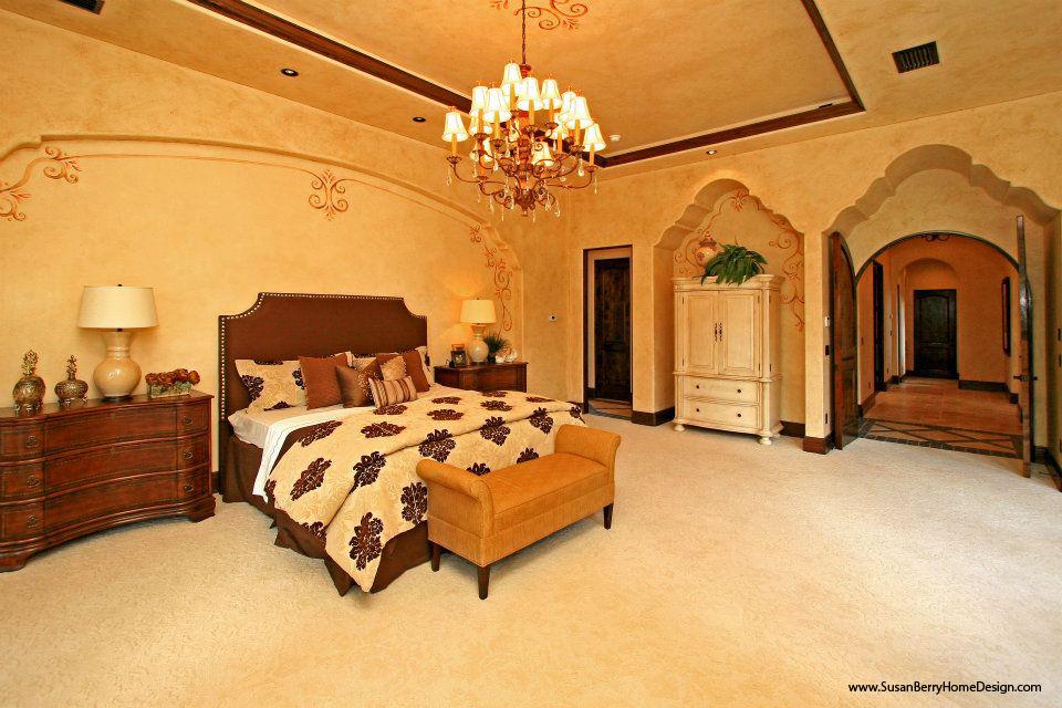 Mediterranean Mansion, Master Bedroom, Susan Berry Home Building Designer