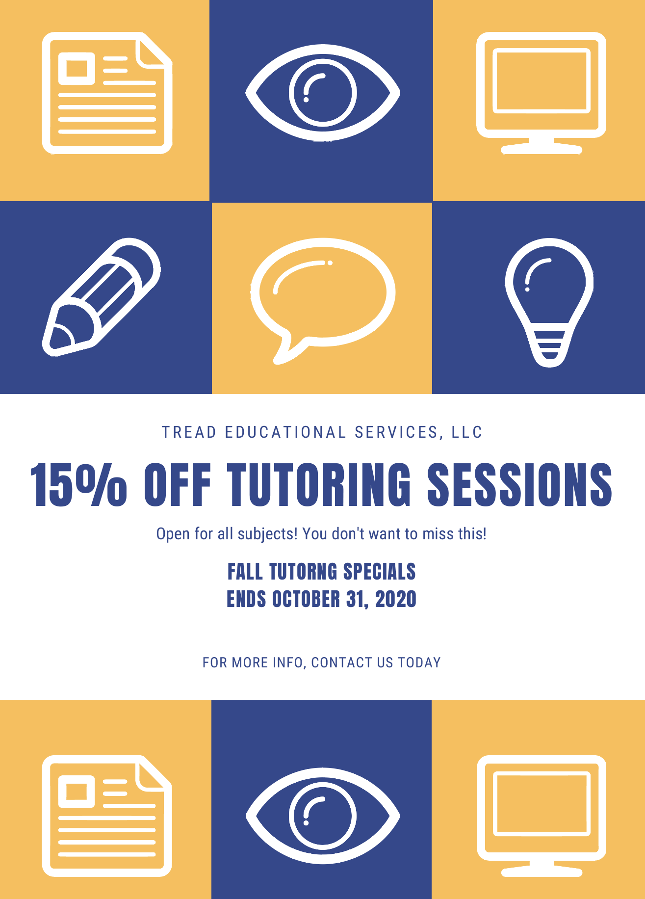 Fall Tutoring Special at TREAD Educational Services
