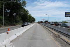 May 2019 - Crews removed the existing median on the viaduct in preparation to repair the structural steel and replace the pavement.