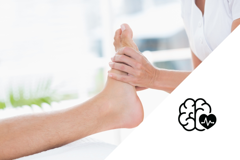 physical therapist stretching the ankle