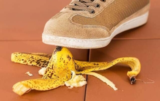 Picture of a shoe stepping onto a banana peel. What you don't know about your healthcare plans can harm you!