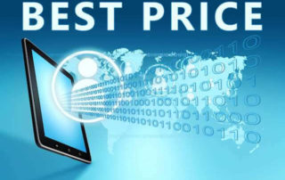 """BEST PRICE"" in writing coming out of computer screen along with 1's and 0's. The best prices come through transparent price systems"