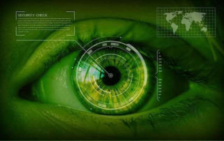 Picture of surveillance data overlay and eyeball. Banning cash leads to no future, all loss of rights!
