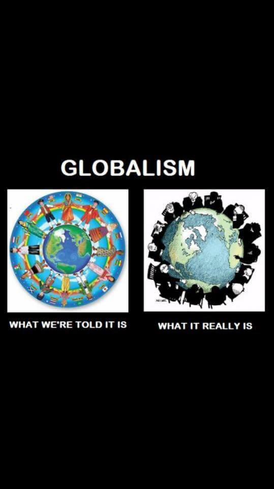 Picture of two representations, side by side, of what globalism is: one being all the world's people being agreeable and happy and the other revealing a small coterie of scheming looking men. Globalism is something quite different from the public relations produced narrative